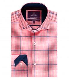 Мужская приталенная рубашка, красная в темно-синюю клетку - высокий воротник - манжеты на пуговицах