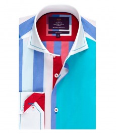 Men's Curtis Blue & Red Large Check Slim Fit Shirt - High Collar - Single Cuff