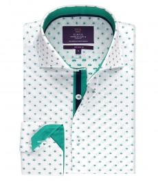 Мужская приталенная рубашка белого цвета в стильную зелёную точку - высокий воротник