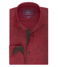 Мужская приталенная рубашка, красная, пейсли - высокий воротник