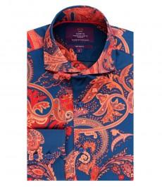 Мужская приталенная рубашка, голубая, оранжевый пейсли - высокий воротник - манжеты на пуговицах