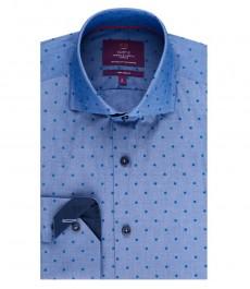 Мужская приталенная рубашка, голубая в крапинку - высокий воротник - манжеты на пуговицах