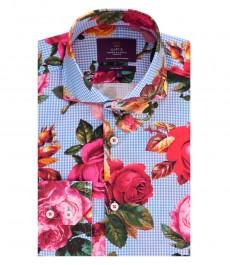 Мужская приталенная рубашка, голубая, красный цветочный принт - высокий воротник - манжеты на пуговицах