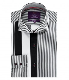 Men's Curtis Black & White Stripe Slim Fit Shirt - High Collar - Single Cuff