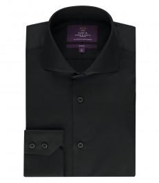 Мужская приталенная рубашка, черная - высокий воротник