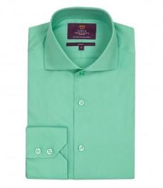 Мужская зеленая рубашка, приталенная-высокий ворот, ткань твил