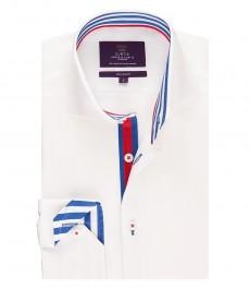 Мужская приталенная рубашка, белая с контрастными деталями - высокий воротник