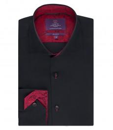 Мужская приталенная рубашка, черная с контрастными деталями - высокий воротник