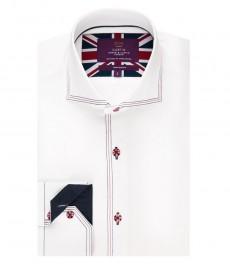 Мужская приталенная рубашка, белая с контрастными деталями - высокий воротник - манжеты на пуговицах