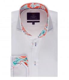 Мужская белая рубашка, поплин, приталенная - высокий воротник