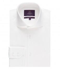Мужская белая рубашка твил, приталенная - высокий воротник