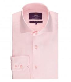 Мужская светло-розовая рубашка, приталенная твил - высокий воротник