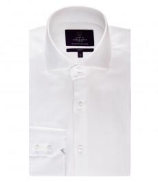 Мужская белая рубашка, приталенная - высокий воротник