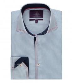 Мужская рубашка, приталенная, голубая в белую полоску - высокий воротник
