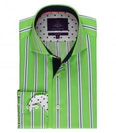 Мужская приталенная рубашка, зеленая в темно-синюю полоску - высокий воротник - манжеты на пуговицах