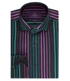 Мужская приталенная рубашка, черная в фиолетовую полоску - высокий воротник