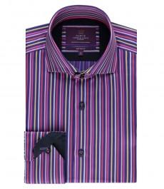 Мужская приталенная рубашка, фиолетовая в розовую полоску - высокий воротник - манжеты на пуговицах