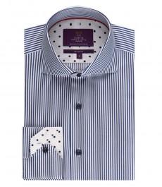 Мужская приталенная рубашка, темно-синяя в белую полоску - высокий воротник