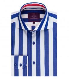 Мужская приталенная рубашка, голубая в белую полоску - высокий воротник - манжеты на пуговицах