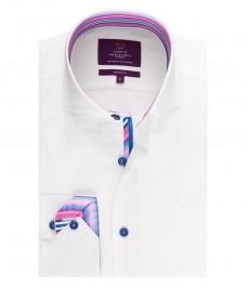 Мужская приталенная рубашка, белая, разноцветный дизайн - высокий воротник - манжеты на пуговицах