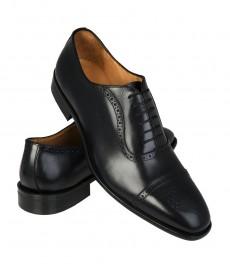 Мужские черные ботинки-броги, кожа