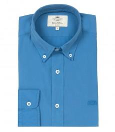 Мужская полуприталенная рубашка, Оксфорд, синяя, рукава на пуговицах
