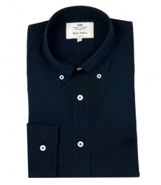 Мужская полуприталенная тёмно-синяя повседневная рубашка Boston Button Down