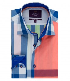 Men's Curtis Orange & Green Check Slim Fit Smart Casual Shirt – One Button Collar - Single Cuff