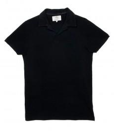 Мужская приталенная рубашка-поло с коротким рукавом чёрного цвета