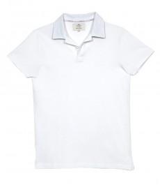 Мужская приталенная рубашка-поло с коротким рукавом белого цвета с контрастными деталями