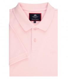 Поло, приталенное, цвет розовый - короткий рукав