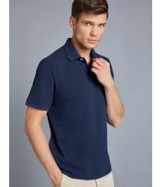 Мужская приталенная темно-синяя рубашка-поло - короткий рукав