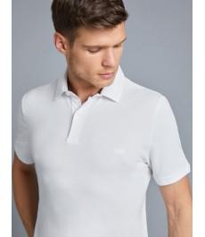Мужская приталенная рубашка-поло - короткий рукав