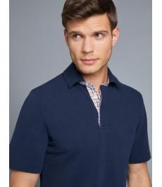Мужская классическая темно-синяя рубашка-поло с контрастными деталями - короткий рукав