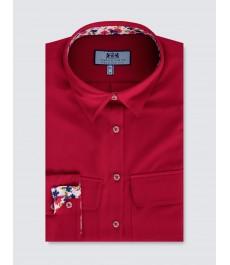 Женская рубашка, свободного кроя с карманом, красная - Манжеты на пуговицах