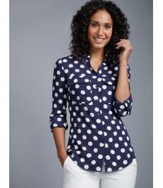 Женская тёмно-синяя с белым в точку рубашка, свободный крой - рукав под пуговицуWomen's Navy & White Spot Relaxed Fit Shirt - Single Cuff