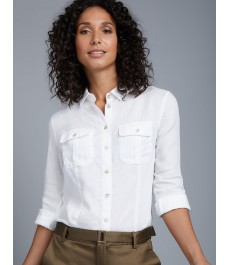 Женская белая льняная рубашка, свободный крой