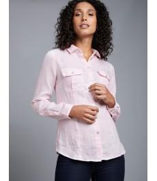 Женская светло-розовая льняная рубашка, свободный крой