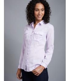 Женская сиреневая льняная рубашка, свободный крой