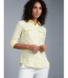 Женская бледно-жёлтая льняная рубашка, свободный крой