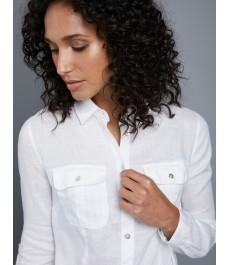 Женская льняная рубашка, свободный стиль