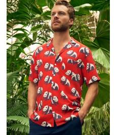 Мужская рубашка Curtis красная с пандами, сводобный крой - короткий рукав