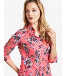 Женская полуприталенная рубашка, коралловая, цветочный принт, рукав 3 четверти