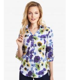 Женская полуприталенная рубашка, многоцветная, цветочный принт, рукав 3 четверти