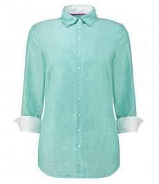 Женская полуприталенная рубашка, ткань зеленый лен - рукав 3\4