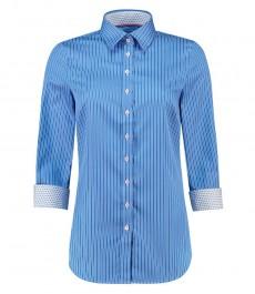 Женская полуприталенная рубашка, голубая в белую полоску, рукав 3 четверти