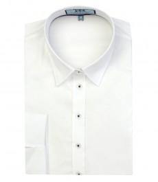 Женская полуприталенная белая рубашка с рукавом 3\4