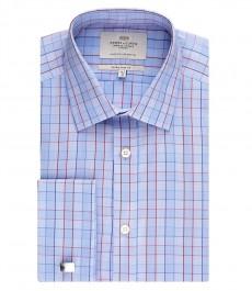 Мужская экстраприталенная рубашка, голубая в красную клетку - манжеты под запонку