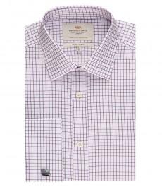 Мужская экстраприталенная рубашка, белая в мелкую сиреневую клетку - манжеты под запонку