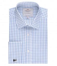 Мужская экстраприталенная рубашка, голубая в белую клетку - манжеты под запонки